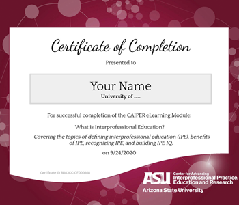CAIPER Interprofessional Certificate of Completion