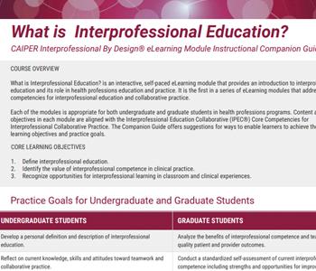 CAIPER Interprofessional Education Companion Guide